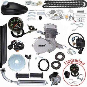 Seeutek PK80 80cc Bicycle Engine Kit 2-Stroke Gas Motorized Bike Motor Kit Upgrade with Speedometer